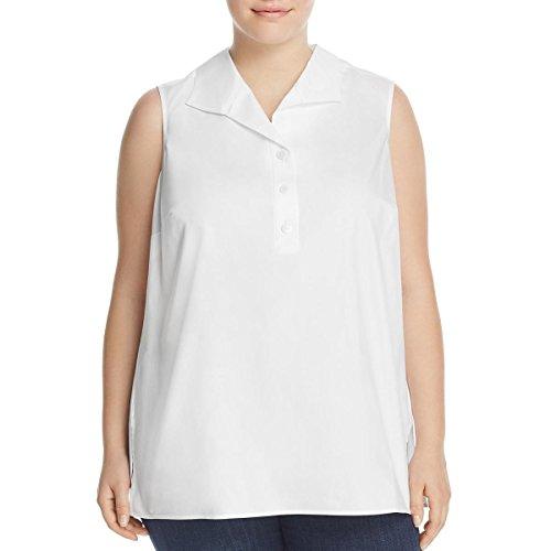 Foxcroft Womens Plus Woven Sleeveless Blouse White 18W