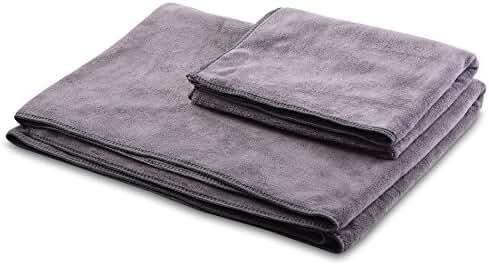 BalanceFrom GoYoga Ultra Absorbent Machine Washable Microfiber Yoga Mat Towel and Yoga Hand Towel Combo Pack