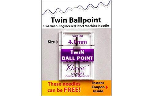 Tacony Corporation Klasse Twin Ball Point Machine Needles-4.0mm/80 1/Pkg