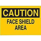 Brady 10'' X 14'' X .06'' Black On Yellow .0591'' B-401 Polystyrene Eye Protection Sign''CAUTION FACE SHIELD AREA''