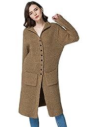 KUBITU Womens Classic Button Down Pocket Knit Long Cardigan Sweater Coat