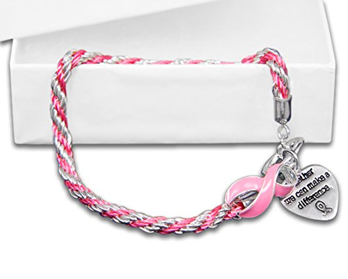 10 Pack Breast Cancer Awareness Rope Pink Ribbon Bracelets (10 Bracelets Individually Bagged) ()
