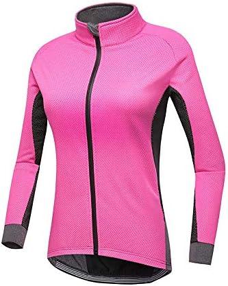 サイクルジャージ 冬の女性はパッド入りレインウール長袖ジャージー軽量ソフト 吸汗速乾高通気 (色 : ピンク, サイズ : L)