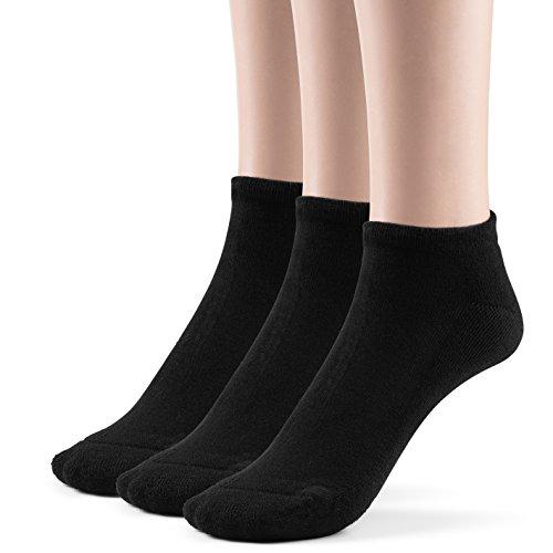 Silky Toes Kids Bamboo Low Cut Cushioned Socks (Medium (8-9), Black (3 Pairs))