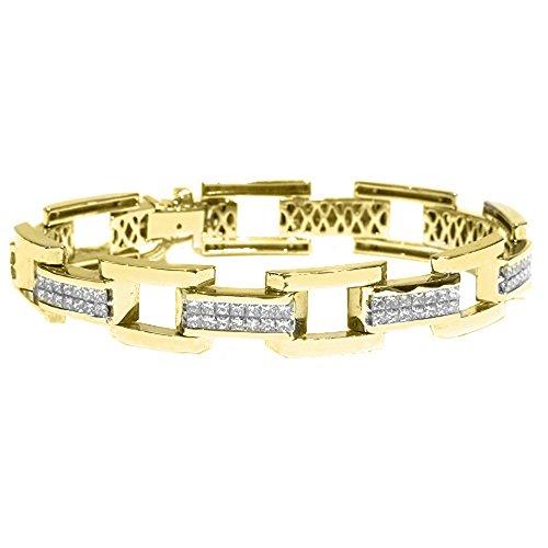 18k Yellow Gold Mens Square Cut Invisible Diamond Bracelet 7.80 Carats