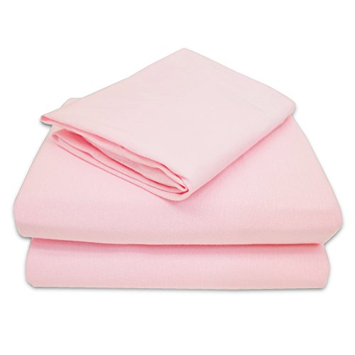 American Baby Company 100% Natural Cotton Jersey Knit Toddler Sheet Set, Pink, Soft Breathable, for Girls