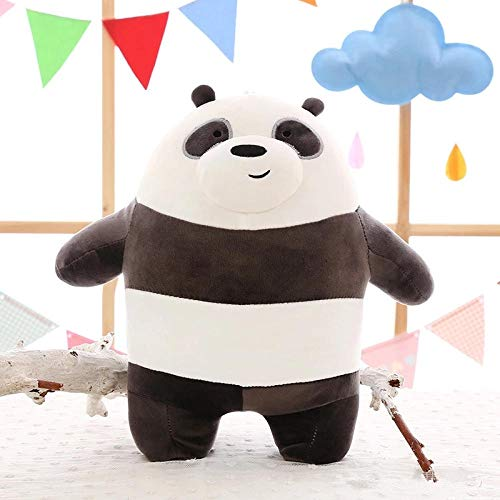 HNBY We Bare Bears Plush Toy Cartoon Bear Stuffed Grizzly Gray White Bear Panda Doll Kids Love Birthday Gift (Color : Black) (The Difference Between Grizzly Bears And Pandas)