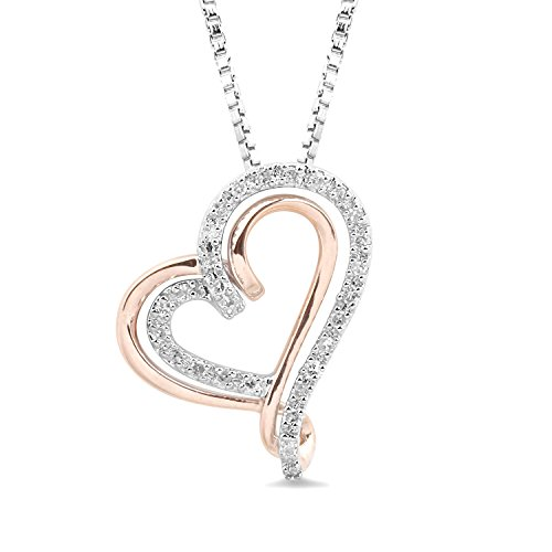 10k Rose Gold and Sterling Silver Diamond Heart Necklace 18 Inch Box Chain