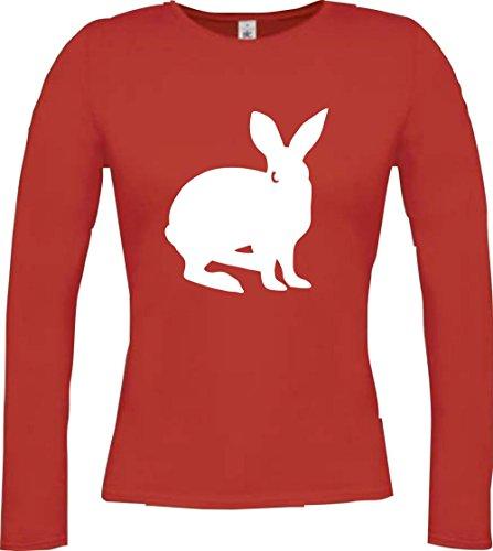 Cocodrilo Lady Manga Larga De Animales Zoo Natural wildness Liebre Conejo Rabbit largo de oído, muchos colores, tamaño XS–XXL Rojo