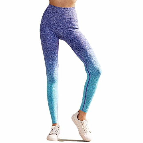 Fittoo Yoga Pants for Women Workout Leggings Printed Ombre Print Colorful Performance Active Stretch Running Tights (Tights Running Colorful)