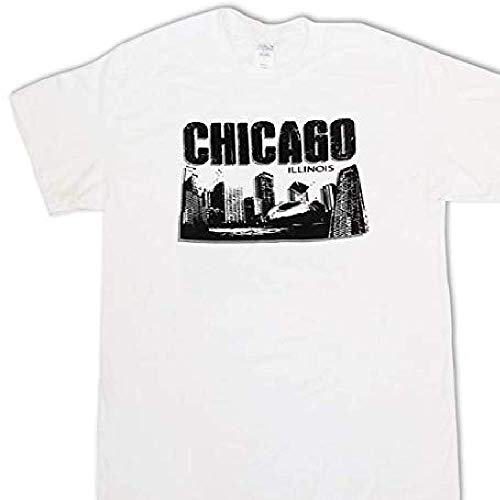 CityDreamShop Chicago Black and White Skyline Featuring Willis Tower and The Bean 100% Cotton T-Shirt (XL) ()