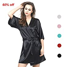 SexRt Women's Pure Color Satin Kimono Robe with Oblique V-Neck, Short