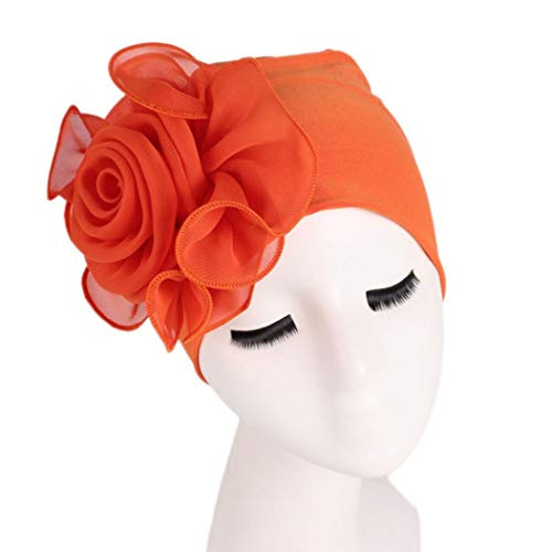 (EnjoCho Women Gift, 1PC 2018 Newest Women Ladies Retro Big Flowers Hat Turban Brim Hat Cap Pile Cap (Orange))