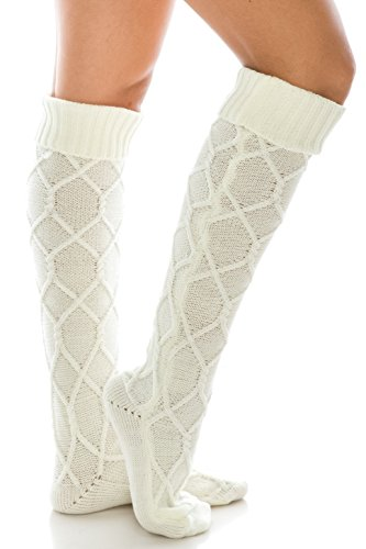 HatQuarters Diamond Knit Extra Long Boot Socks, Knee High Warm Solid Color Cuffed Leg Warmers - Socks Diamond Womens