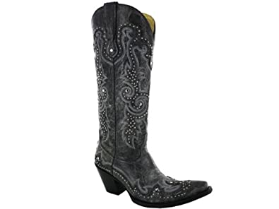Amazon.com | Corral Women's Gray Stud and Embroidered Western ...