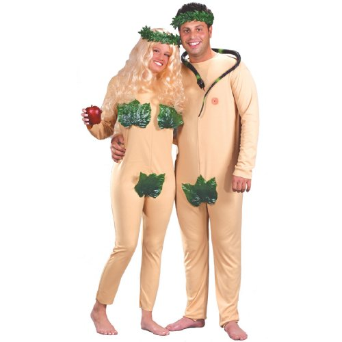 Adam And Eve Adult Costumes (FunWorld Adam and Eve 2 In 1 Bag, Nude, One Size Costume)