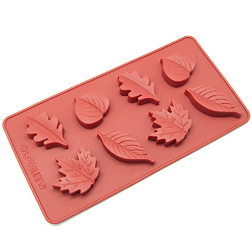 Freshware CB-600RD 8-Cavity Leaf Shape Silicone Mold for Making Soap, Candle, Candy, Chocolate, and ()