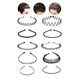 10 Pack Metal Hair Bands for Men Women Unisex Black Metal Headband Hair Hoop Spring Wavy Hairband Sports Outdoors Headbands Headwear Accessories