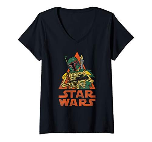 Womens Star Wars Boba Fett Skeleton Halloween Costume V-Neck T-Shirt]()