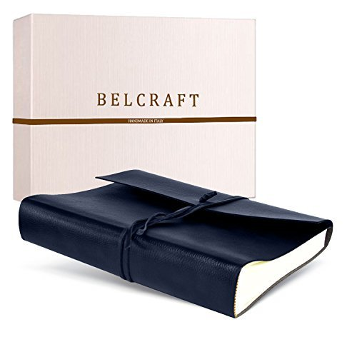 Tivoli Large Recycled Leather Photo Album, Handmade Classic Italian Style, Including Special Box, A4 (23x30 cm) Navy by Belcraft by Belcraft