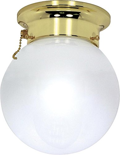 Polished Brass Pull Chain - Nuvo Lighting 60/295 One Light Flush Mount, Polished Brass/White Glass