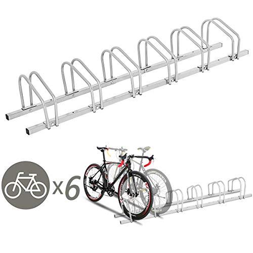 - Goplus 6 Bike Rack Bicycle Stand Cycling Rack Parking Garage Storage Organizer, Silver