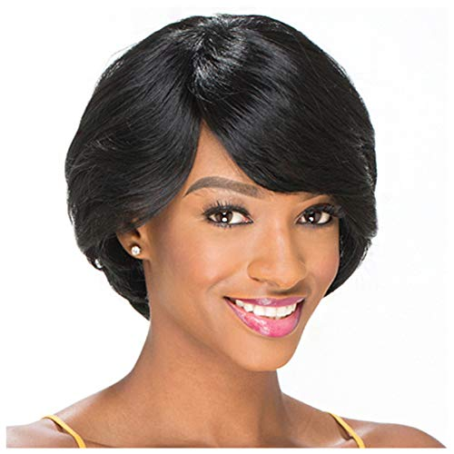 Naiflowers Women Black Short Hair Wig,10 inch Natural Lace Front Synthetic Straight Hair, Party Accessories Soft Heat Resistant Fiber Synthetic Hair Natural Full Wigs, Elastic&Smooth, (Black)]()