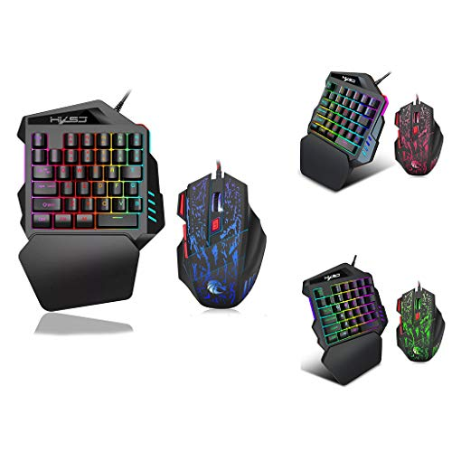 One-Handed Mouse and Keyboard Set Left Hand Mechanical Feel Small Compact Mini Portable Ergonomic Multicolor Backlight One-Handed Game Keyboard Mouse Set - Handed Tray