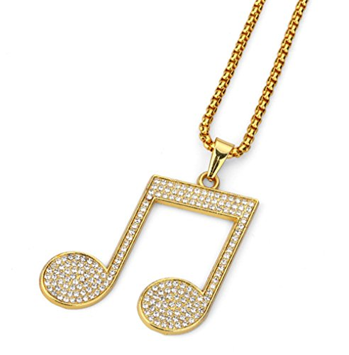 (TIDOO Jewelry Hip Hop Musical Note Pendant Necklace for Men with Gold Chain)