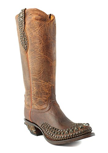 Lucchese Women's Mad Dog Stud Wingtip Western Boot, Peanut Brittle, 7.5 M (Western Peanut Brittle)