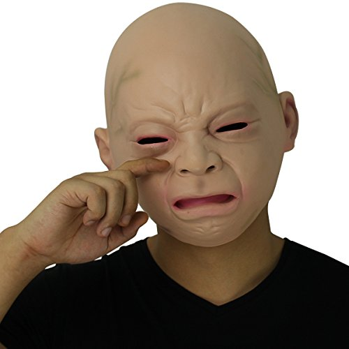 Novelty Latex Rubber Creepy Cry Baby Face Head Mask Halloween Party Costume Decorations by BengPro]()