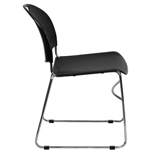 Flash Furniture 4 Pk. HERCULES Series 880 lb. Capacity Black Ultra Compact Stack Chair with Chrome Frame