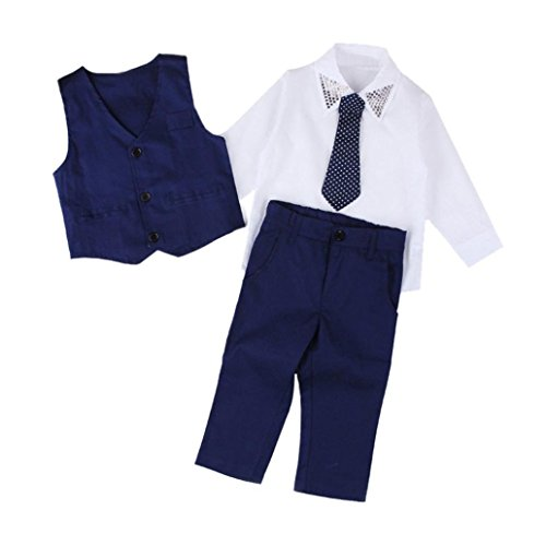 Little Boy Gentleman Sets,Jchen(TM) Infant Kids Little Boys Long Sleeve Gentleman Shirt+Necktie+Vest+Long Pants Party Formal Outfits for 2-7 Y (Age: 7 Years Old)
