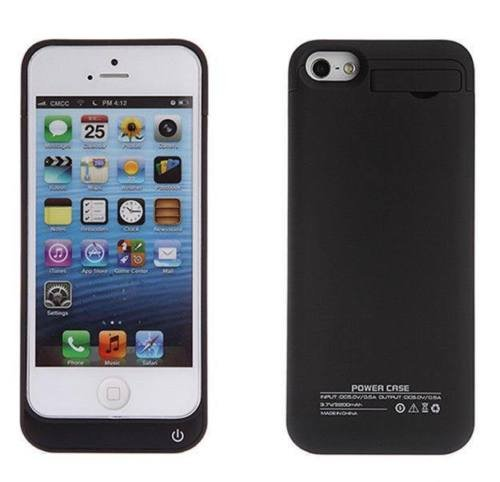 NOKKOO Power Bank charger case External Rechargeable Backup Battery Charger Charging Case Cover for iPhone 5C with Pop-out Kickstand / Multi-colors (Black)