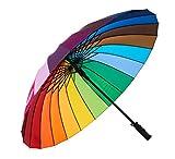 Variety To Go Rainbow Umbrella Large, 24 Ribs Rainbow Umbrella, Rainbow Umbrella for Girls,Men and Women (Straight Handle)