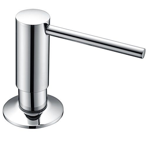 KVADRAT Chrome Brass Soap Dispenser Lotion Dispenser,ABS Plastic Clear Bottle Refillable From Top -11 oz Bottle Used for Kitchen and Bathroom Countertops by KVADRAT
