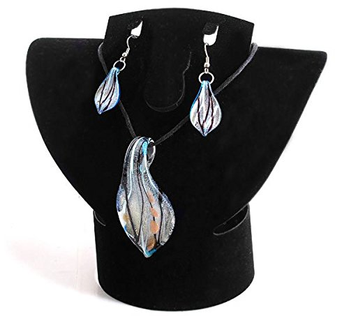 Lampwork One Glass (Ecloud Shop 1 Set Blue Lampwork Glass Murano Bead Earrings Pendant FASHION)