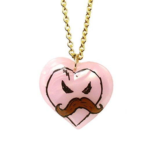 Tarina Tarantino X KidRobot I Love Mustache Long Heart Necklace in Pink (Necklace Tarina Heart By Tarantino)