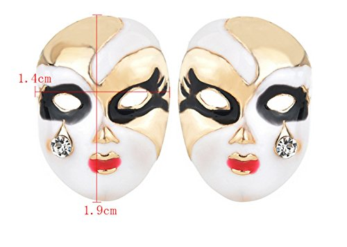 - P.phoebus 18K Yellow Gold Plated Mask Earrings Vintage White Swarovski Crystal Studs Rhinestones Dangle Charms Hoops for Women Girls (9)