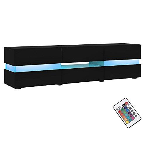 [neu.haus] Sideboard TV-Möbel schwarz Hochglanz Lack - Lowboard Fernsehtisch mit LED Licht TV-Schrank für Flachbildschirme HiFi Rack mit Schubladen