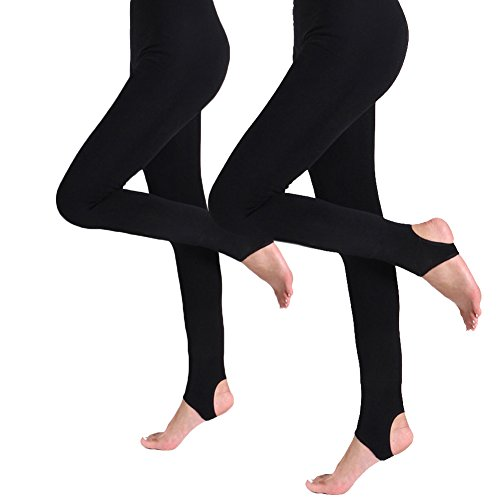eece Lined Leggings Thermal Pantyhose Tights (Black Pack Of 2-Stirrup L/XL) ()