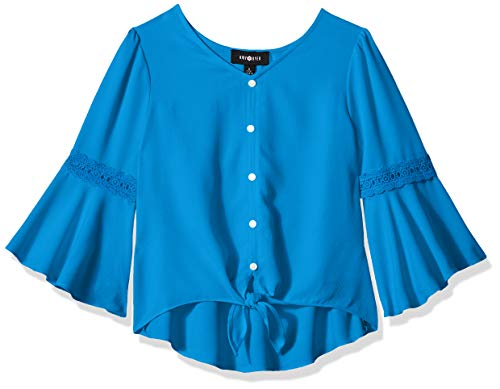Amy Byer Girls' Big Bell Sleeve Tie Front Woven Shirt Top, French Blue, M (Sleeve Shirt Woven)