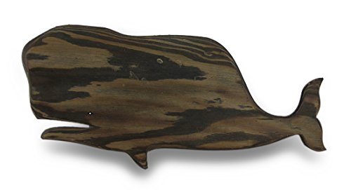 Wood Wall Sculptures Wooden Whale Silhouette Dark Stained Decorative Wall Hanging 22.5 X 10 X 0.25 Inches Brown