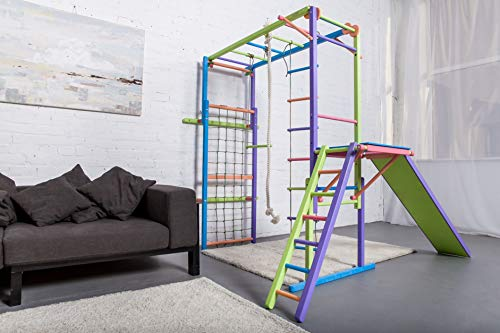 EZPlay Koala Indoor Jungle Gym - Sturdy Climbing Playset, Foldable Kids Play Area with Monkey Bars, Climbing Ladder, Slide, Swing Set & Rings, Adjustable Play Structure for Ages 4-10
