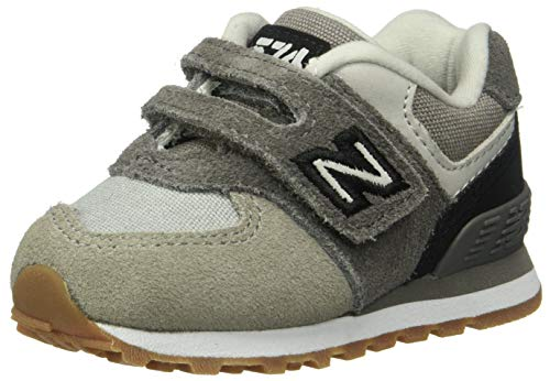 New Balance Boys' Iconic 574 Hook and Loop Sneaker Castle RockBlack 3 W US Infant
