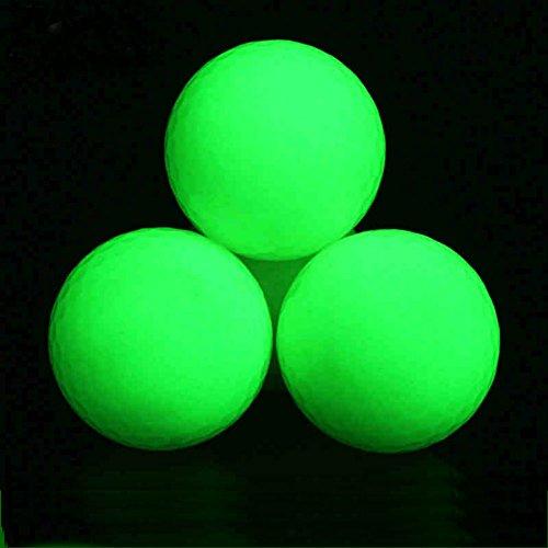 (Pack of 3 Balls) Luminous Night Golf Balls,Long Lasting&Reusable Bright Night Golf Ball,Absorption of Light Nature by Flashlight (One UV Flashlight Included)/Sun light,Glow in the dark,Easy to Golf