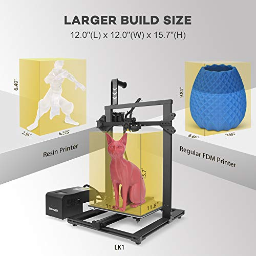 LGT Longer LK1 3D Printer, 300x300x400mm Large Build Size Printer DIY Kit, Metal Frame with Resume Printing