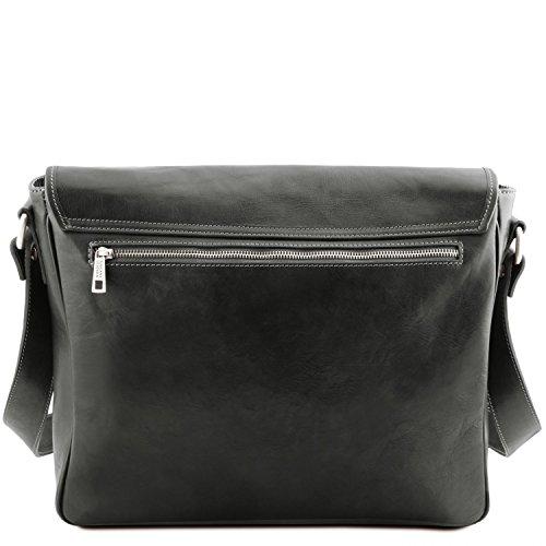Tuscany Leather TL Messenger Laptop Umhängetasche aus Leder mit zwei Fächer Schwarz Schwarz