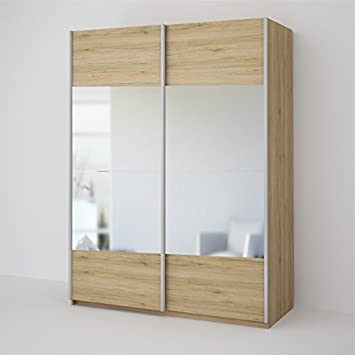 Ideal Seattle 2 Door Oak Mirrored Sliding Wardrobe - Oak & Mirror ...