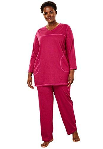 (Dreams & Co. Women's Plus Size Topstitched Pj Set - Pink Burst Light Pink, 1X)